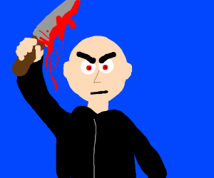 Crazy demon possessed bald killer with a knife