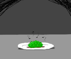Green glob on a plate. Appears to be stinky...