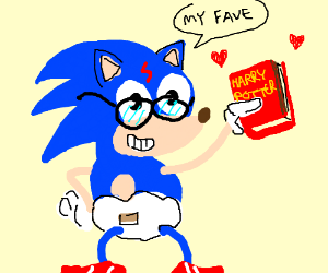 Sonic is a Harry Potter fan and wears diapers
