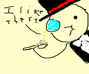 Guy with monocle likes beads on a spoon