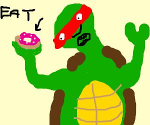 PoV Ninja Turtle eating a sprinkly doughnut