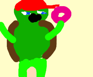 The red ninja turtle about to eat pink donut