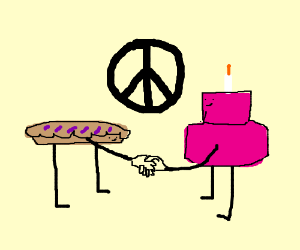 Pie and Birthday Cake create a peace treaty
