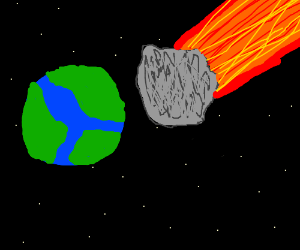 Giant, flaming meteor about to hit Earth.