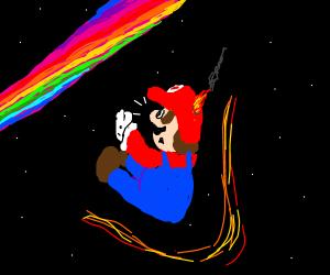 Mario falls off Rainbow Road in space.