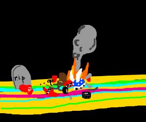 Mario dies on Rainbow Road