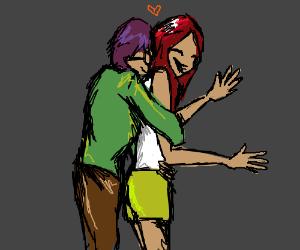 Sneaking up on your girlfriend - back hug