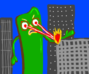Evil Gumby lights city on fire