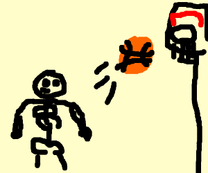 Little skeleton plays basketball.