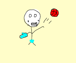 Skeleton plays basketball in speedo and mitten
