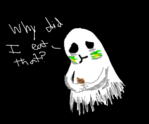 Ghost about to puke after eating granola bar