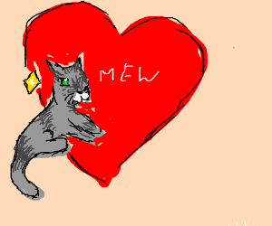 Cute cat infront of heart goes mew