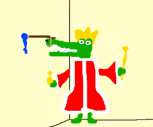 Crocodile king paints the wall with his nose