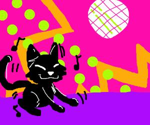 black cats enjoying their night without kids