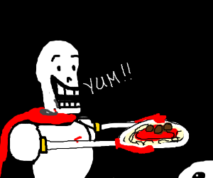 Skeleton eating spaghetti