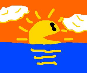 Pacman sunset