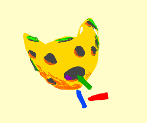 a cheese cat eating a crayon