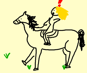 Blonde girl is surprised and riding a horse