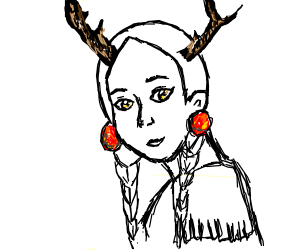 Native American w/ antlers calls spirit mouse.