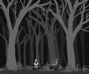 Two gnomes get lost in the forest