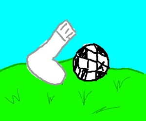 Sock kicks soccer ball