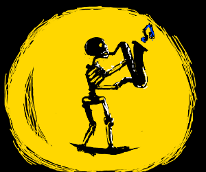 Skeleton jazzman plays trumpet