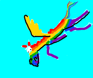 Rainbow Pegasus falling out of the sky.