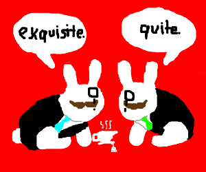 Mustachioed Monocled Bunnies in Tuxes