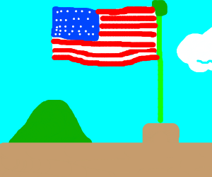 Flagpole with American flag.