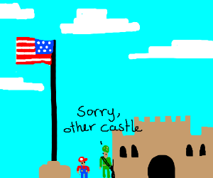 Mario flagpole is now american and backwards