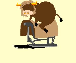 A Bull Riding A Mechanical Bull Ride Drawception