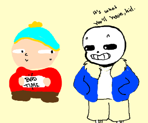 Cartman holds a sign that says BAD TIME