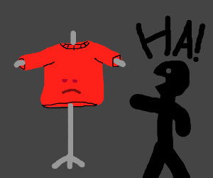 laughing at clothing items