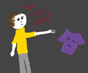 White man insults purple t shirt