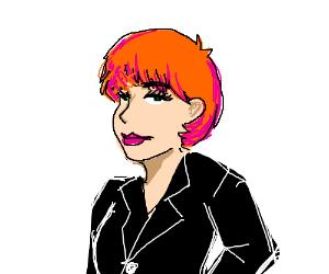 Girl with short orange and pink hair, black ja