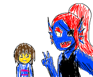 Undyne with frisk on the background