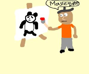 Drawing a panda using a brush, Masterpiece.