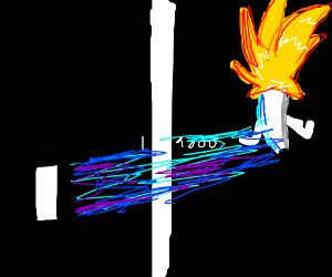 Ping-pong guy goes Super Saiyan.