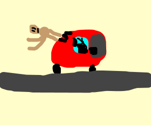 dummy jumps out of car