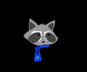 Raccoon in drawception D scarf