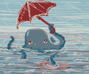 Octopus with an umbrella in the rain