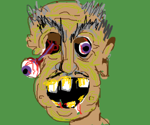 An evil old man zombie