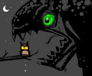 Green eyed monster eats terrified owl.