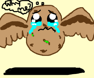 Crying potato with wings