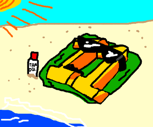 11 tanning at the beach.