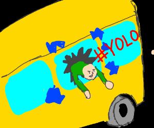 Man leaps from bus window #yolo