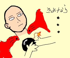 Red caped alien committing suicide via bomb