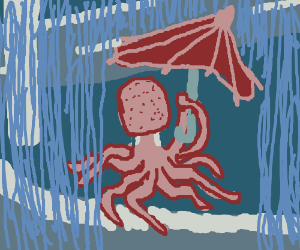 Octopus with umbrella out in the rain