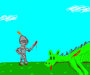Knight slays dragon