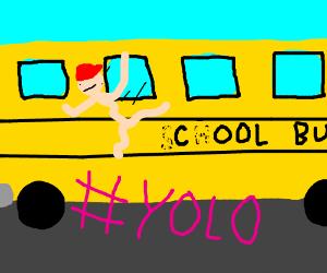 Kid jumps out of school bus cuz #YOLO